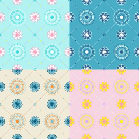Set of textures with floral ornament. Illustration