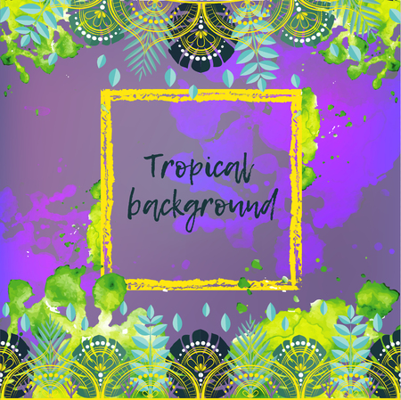 Vector background with tropical leaves. Poster