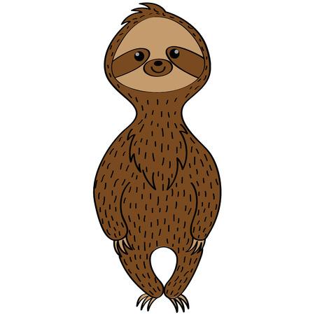 Cute sloth in a cartoon style. Illustration