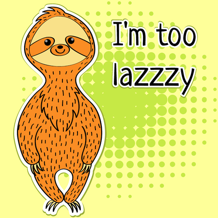 Cartoon cute character. Animal sloth.