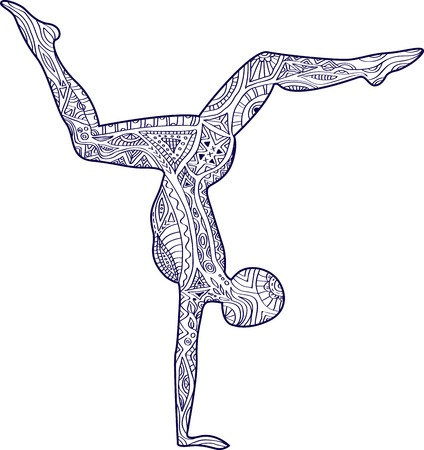 Yoga. Silhouette of a man with a pattern. Asana scorpion.