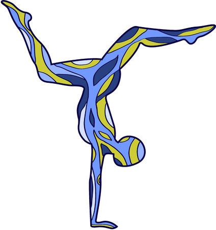 Yoga. Silhouettes with patterns Asana scorpion