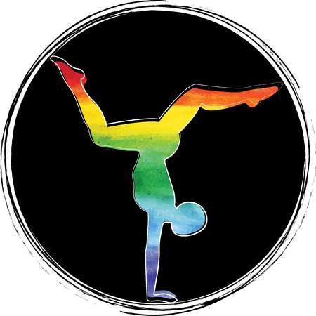 Yoga. The man in the asanas. Rainbow 向量圖像
