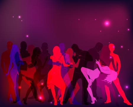 Fiesta de baile latino. Siluetas de parejas en tonos rosados.