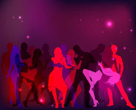 Latino Dance Party. Silhouettes of couples in pink tones. Vectores