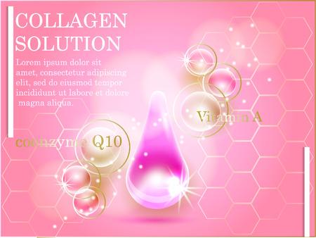 Coenzima Q10. Supreme collagene goccia olio essenziale, con elica del DNA. Premium brillante goccioline siero. Illustrazione vettoriale.