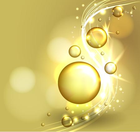 Solución de mascarilla dorada. Burbujas de aceite sobre fondo precioso. Revista de belleza composición. Diseño de concepto cosmético.