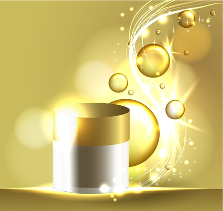 Gold face mask solution. oil bubbles on precious background. Beauty magazine compozition. Cosmetic concept design.