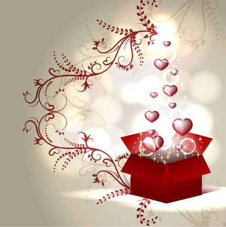 Red hearts coming out from gift box. EPS 10