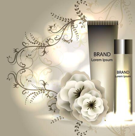 cream ads, makeup tube template with sparkling effect. 3D illustration. Camelia elixir. Illustration