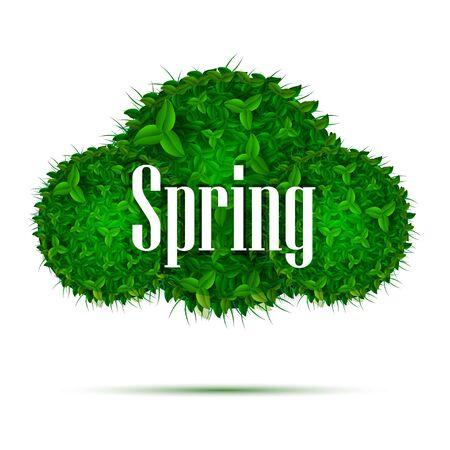 Spring green foliage. Poster cards. Vector illustration Illustration