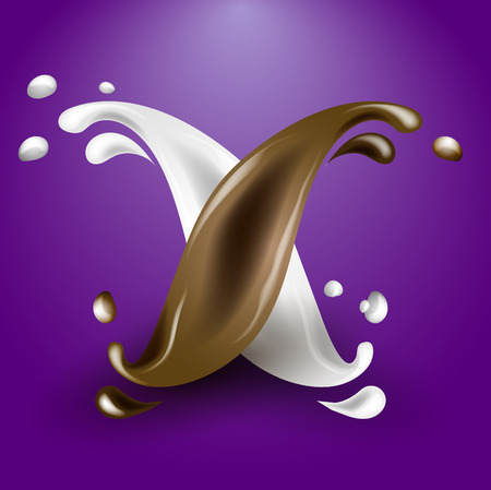 Beautiful vector illustration of a splash of milk and chocolate, duet of liquids, contrast. Spilled milk and chocolate.