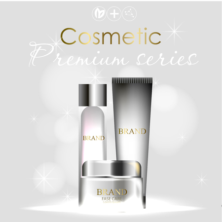 essense and a cream for skin care. 3d vector realistic illustration. Collagen solution ,serum .The design of cosmetic products. Presentation of face care.