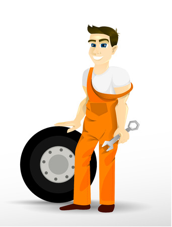 Auto Mechanic. Happy man holding a wrench and leaning on a wheel. Workers, cartoon characters for your ad.
