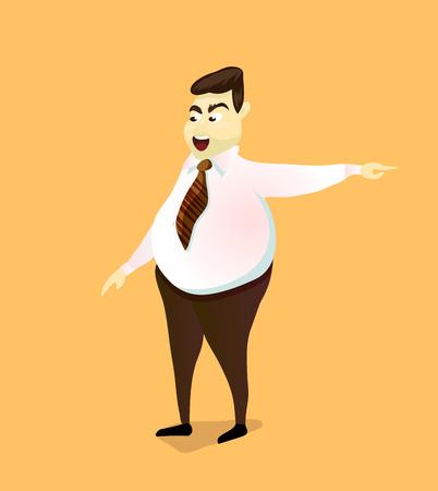dismissal: The evil boss points to the door. Dismissal. Cartoon characters, vector illustration. Illustration