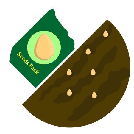 bag of soil: Seeds in the package, seed pods in the ground. Vector illustration