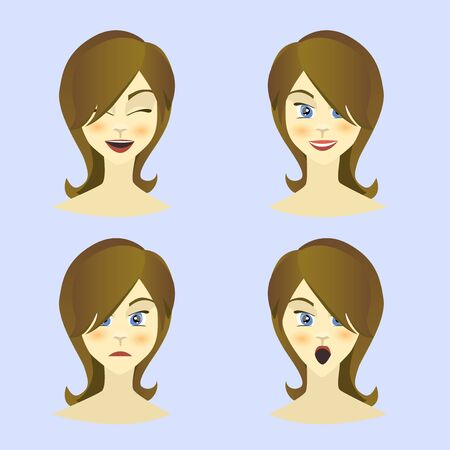 equanimity: Girl , woman emotions character, joy, happiness, surprise, anger, equanimity, cartoon character, flat style. Vector illustration Stock Photo