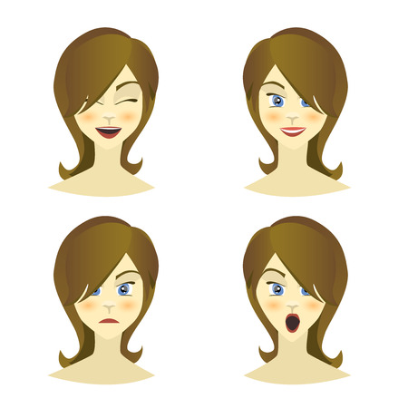 equanimity: Girl , woman emotions character, joy, happiness, surprise, anger, equanimity, cartoon character, flat style. Vector illustration Illustration