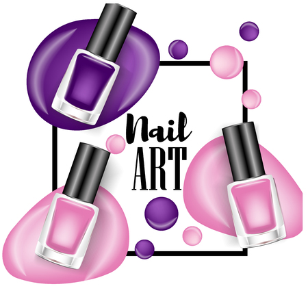Beautiful colorful nail lacquer ads, glass bottle elements,vector realistic 3d illustration