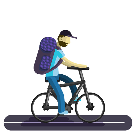A man on a bicycle. A biker tourist rides along the road, with a large tourist backpack. Flat illusion.