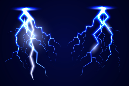 dazzle: lightning. Realistic effect of electrical discharge. Illustration