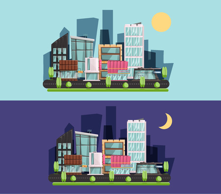 outdoor advertising construction: Cartoon town, residential buildings, shops and cafes. City flat style. night and day Vector illustration.