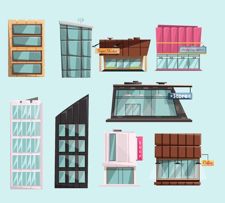mujer en el supermercado: buildings bcity set cartoon isolated vector