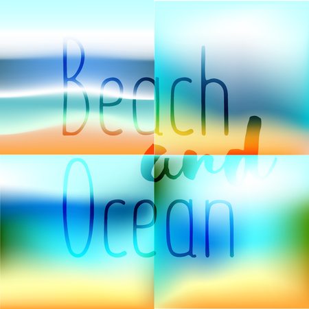 beach party: Summer set background gradient mesh beach and ocean. Background for travel cards.