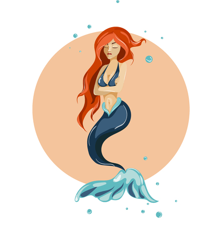 Mermaid cartoon characters design. Emotions girl
