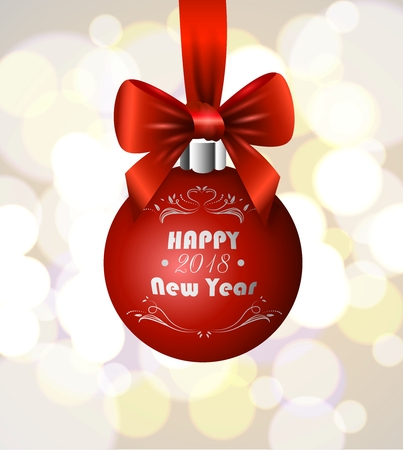 New Years ball with a bow. Greeting card template design happy new year 2018.