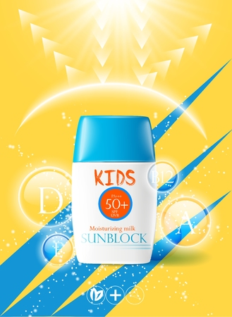 Childrens sunscreen, jars with cream, template design concept cosmetics, for tender baby skin. Caring for children in summer and traveling. Sunblock for kids.