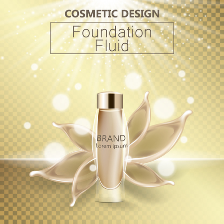 Glamorous foundation ads, glass bottle with foundation and foundation splashes, elegant ads for design, 3d vector