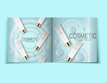 Moisturizing face cream package cosmetics design, ads, templates for design Top view light blue cosmetic brochure design can also be used on catalogs or magazines, 3d illustration. Vettoriali