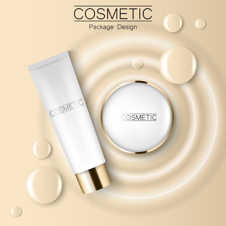 Concealer and compact foundation and a drop of the design template advertising cosmetics 3d. Top view realistic illustration of a packaging design cream.