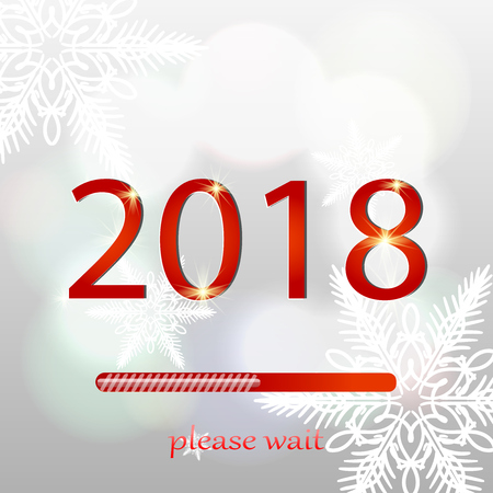 Christmas loading bar. Background with snow and snowflakes. 2018 new year illustration. Vector illustration Illustration