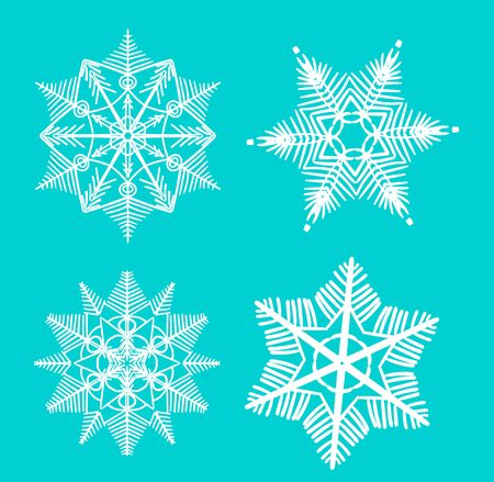 Snowflake vector icon background set white color. Winter blue Christmas snow flat crystal element. Illustration