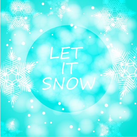 Let it snow card with snowflakes and stars on white background. Winter holidays