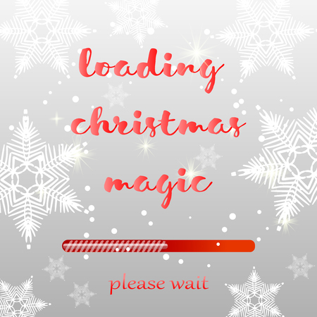 Christmas loading bar. Background with snow and snowflakes. Vector illustration