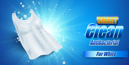Modèle de conception d'emballage pour la lessive. Super propre. Bulles de savon, mousse. Illustration vectorielle