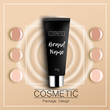 skin tones: foundation template design packaging of cosmetics Top view vector illustration