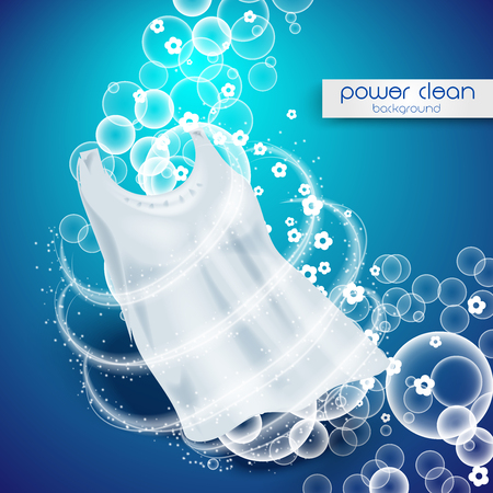 A laundry detergent with close up that cleans dirt in clothing, light blue background Illustration