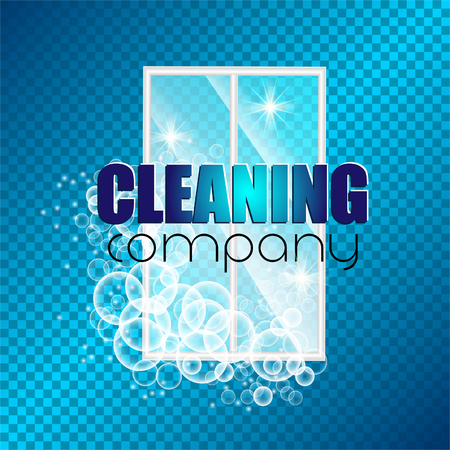 template design corporate identity cleaning company. Realistic bubbles knocked into the foam.