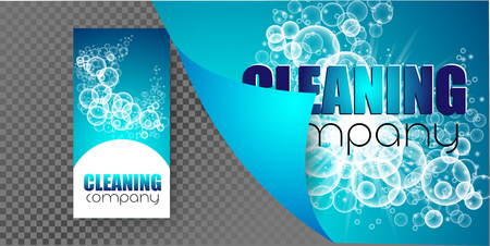 template design corporate identity cleaning company. Realistic bubbles knocked into the foam. Vector illustration