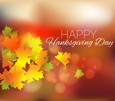 Happy Thanksgiving Day background. Autumn poster or banner with leaves
