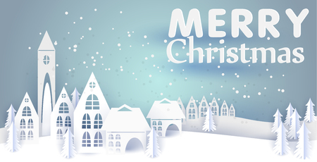 Merry Christmas and Happy New Year paper greeting card with winter houses. Winter paper landscape. vector illustration paper art and craft style. 矢量图像