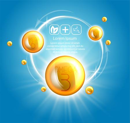Fish oil ads template, omega-3 . oil drops 3D illustration. Realistic illustration vitamin natural, concept design. Illustration