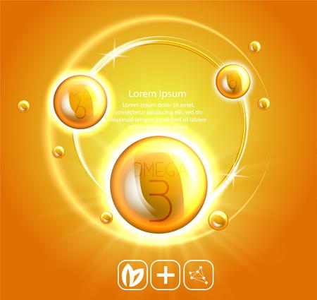 Fish oil ads template, omega-3 . oil drops 3D illustration. Realistic illustration vitamin natural, concept design. 일러스트
