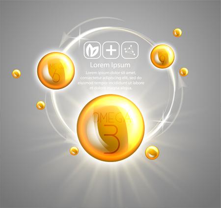 Fish oil ads template, omega-3 . oil drops 3D illustration. Realistic illustration vitamin natural, concept design.  イラスト・ベクター素材