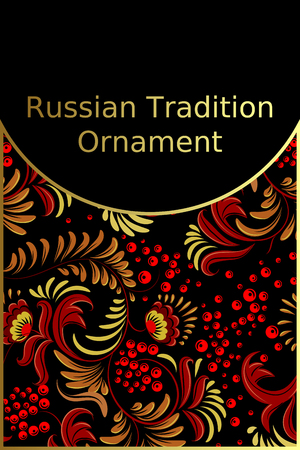 Card with russian traditional ornament in stile khokhloma