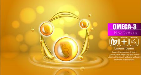 Plantilla de anuncios de aceite de pescado, omega-3. Ilustración de gotas de aceite 3D. Ilustración realista vitamina natural, diseño de concepto. Foto de archivo - 93079701